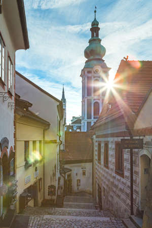 [Cesky Crumlov, Czech Republic - Jan 2020] Red tile roofs and towers of the Cesky Crumlov old town, Czech Republic. High quality photoRed tile roofs and towers of the Cesky Crumlov old town, Czech Republic Editorial
