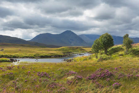 Clach Leathad and Meall a Bhuiridh reflected in Lochan na Stainge on Rannoch Moor in Summer. High quality photo