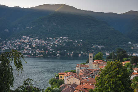 Panoramic view of Torno and lake Como in Italy Stockfoto