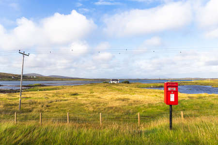 An isolated post box on South Uist, Outer Hebrides, Scotland