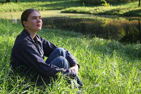 colleen: The girl has a rest in park on a meadow