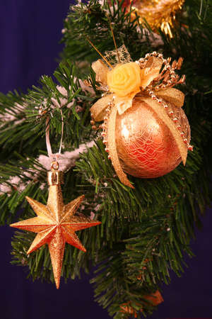 Golden star and ball - christmas decorations