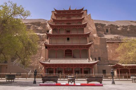Nine floors of Mogao Grottoes at Dunhuang, Gansu scenery Stock Photo