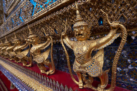 Close up of golden statues