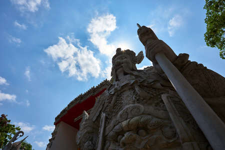 Low angle view of a stone statue