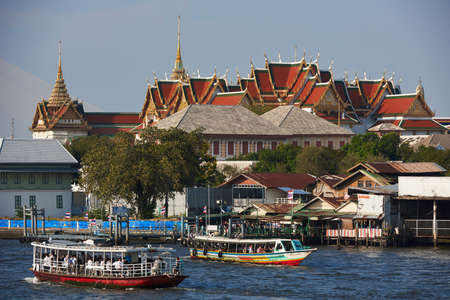 View of river and buildings in Thailand