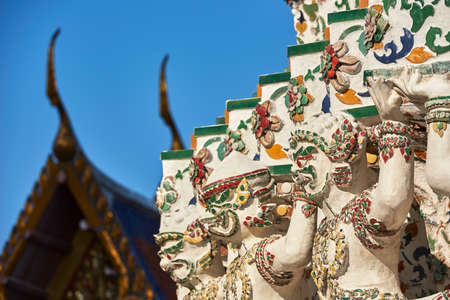 Sculpture details on a temple in Thailand