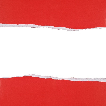 teared paper: Ripped red and white paper background  Stock Photo