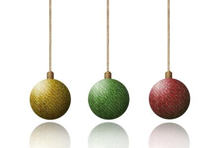 weave ball: Color Weave wood christmas ball