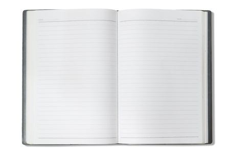 moleskin: Open notebook isolated on white background and Clipping path