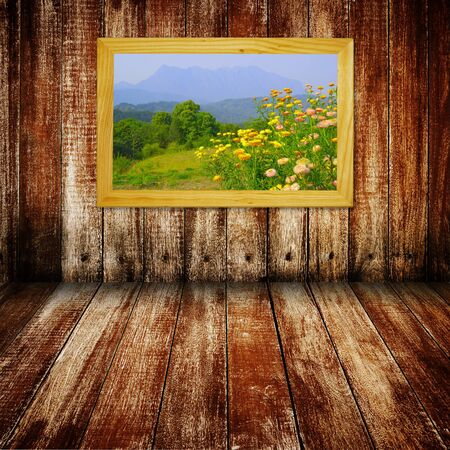 Window with a view mountain and flower  photo