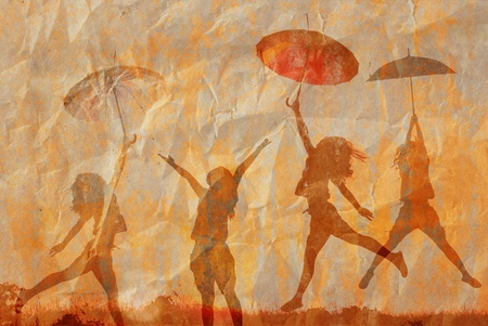 umbrella woman and old paper for text and background