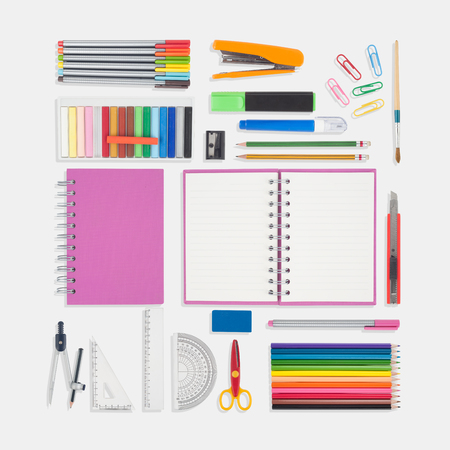 Notebook and school or office tools isolated on white background And Clipping path Stock Photo