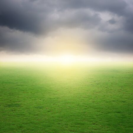 rainclouds: Green Grass fields and rainclouds