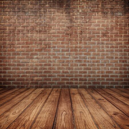 Concrete brick walls and wood floor for text and background