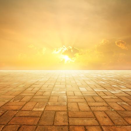 brick floor: Brick floor and Sunset for background Stock Photo