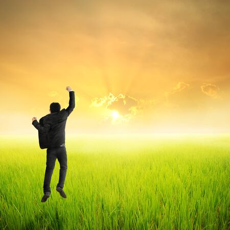 happy business man: Happy business man jumping in green rice field and sunset