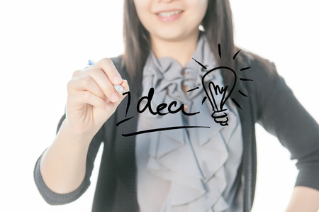 drawing a plan: Business Woman Writing idea text