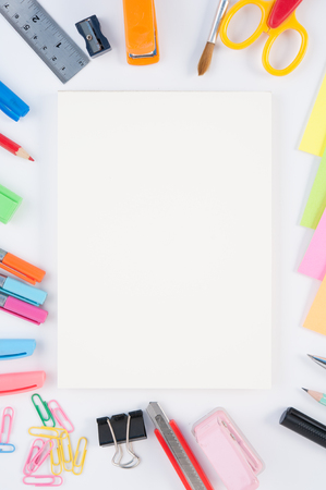Open blank Notebook and school or office tools  on white background And Stock Photo