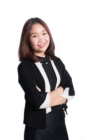 Happy asia business woman on white background