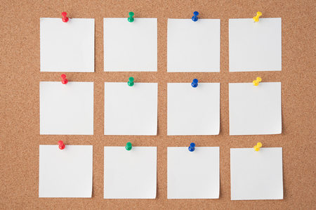 pin board: Pin Paper on cork board  for text and background Stock Photo