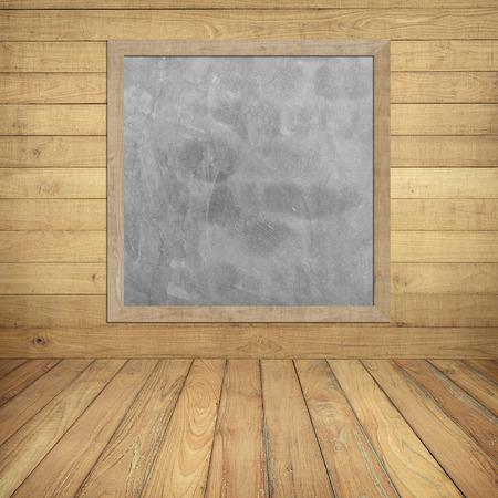 Business chart on Gray board on wood wall Foto de archivo