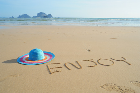 Hat on Beach when beautiful day in Thailand