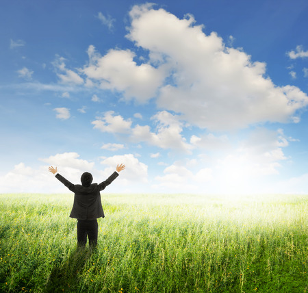 Happy Business Man standing in Yellow field and sun sky