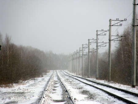 elevated: Image of railway, winter, railroad, elevated, power line, frost, snow Stock Photo