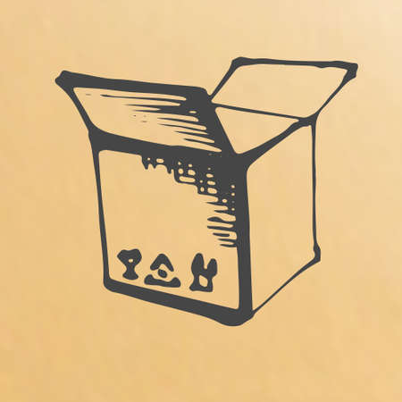 scetch: Vector image of paper box scetch packing