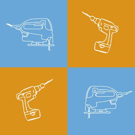 jig saw: Vector image of pop art tools sketch