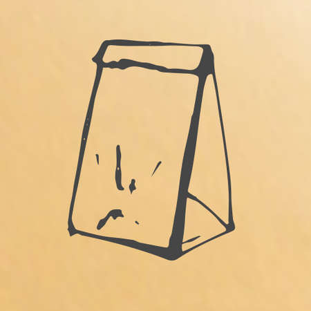 scetch: Vector image of paper bag scetch packing