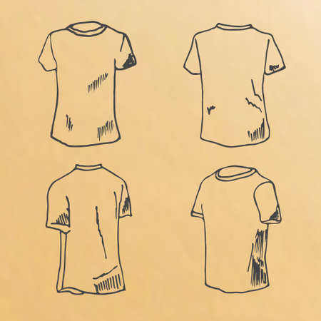 t shirt model: Image of hand drawn sketched, t-shirt design templates