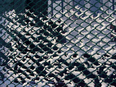 mesh fence: Image of photo mesh fence winter snow white