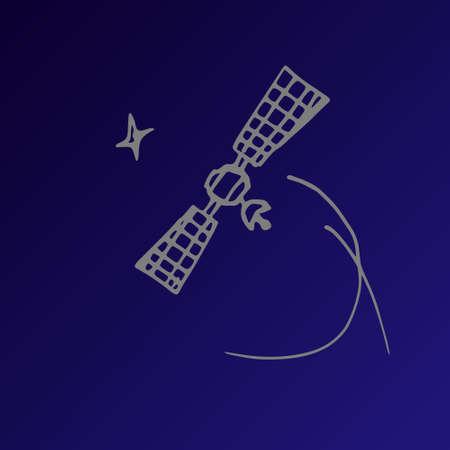propulsion: Image space satellite in orbit sketch stars. Doodle style