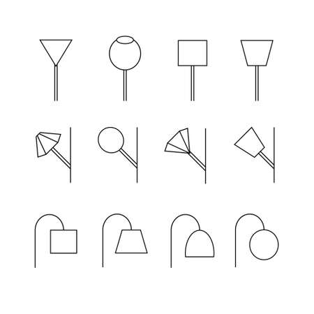 lighting column: Image of  outline Lamp Icon Set. Vector Graphics