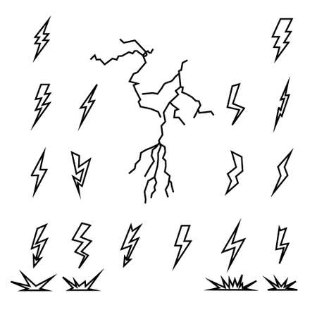 zapping: illustration with black lightning collection isolated on white background Illustration