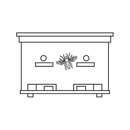bee house: Apiary honey bee house apiary illustrations. Apiary symbols. Bee, honey, bee house, honeycomb. Honey natural healthy food production. Bee, beehive and wax. Bee house outline icon Illustration