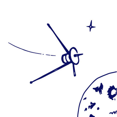 scratchy: Image space satellite in orbit sketch stars. Doodle style