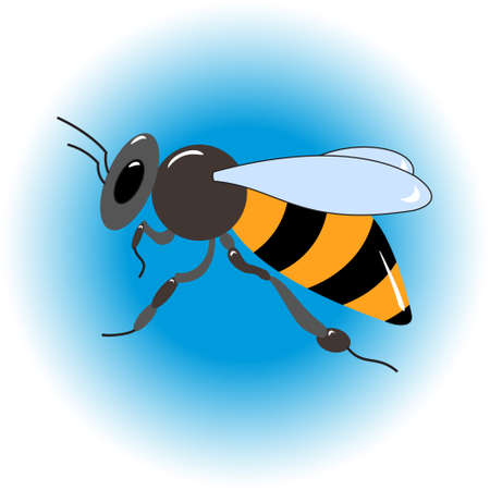 food production: Honey bee. Isolated insect icon. Flying bee. Black bee with white wings. Flat style illustration. Honey natural healthy food production. Bee, flowers, beehive and wax. Illustration