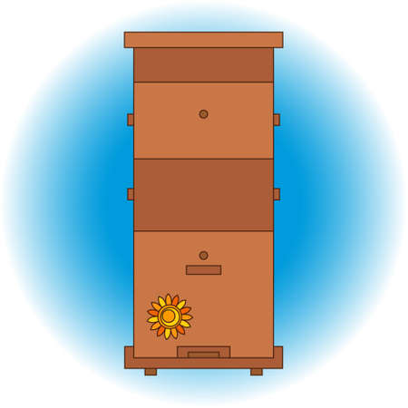abejas: abeja de la miel ilustraciones casa colmenar colmenar. s�mbolos apiario. Abeja, miel, casa de abeja, panal. La miel natural para la salud la producci�n de alimentos. Abeja, colmena y cera. Abeja icono de la casa de esquema