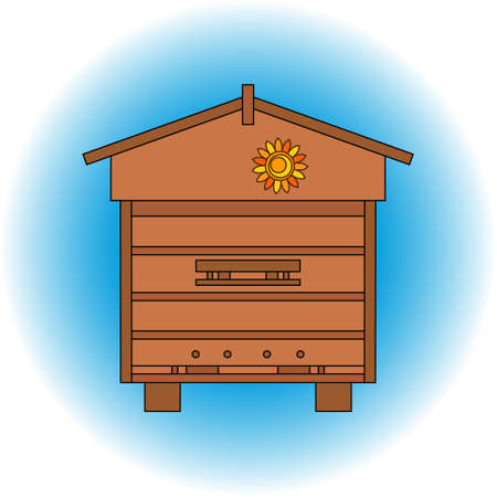 beehive: Apiary honey bee house apiary illustrations. Apiary symbols. Bee, honey, bee house, honeycomb. Honey natural healthy food production. Bee, beehive and wax . Bee house outline icon