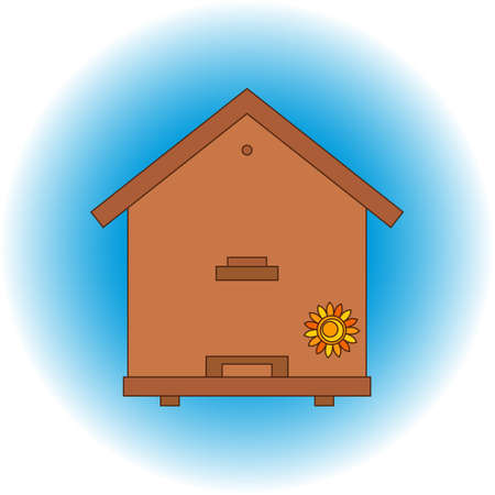 apiary: Apiary honey bee house apiary illustrations. Apiary symbols. Bee, honey, bee house, honeycomb. Honey natural healthy food production. Bee, beehive and wax . Bee house outline icon