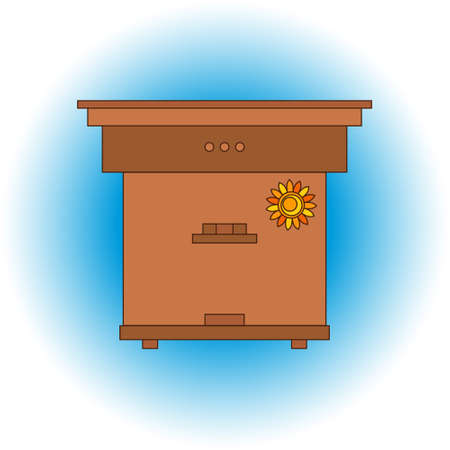 bee house: Apiary honey bee house apiary illustrations. Apiary symbols. Bee, honey, bee house, honeycomb. Honey natural healthy food production. Bee, beehive and wax . Bee house outline icon