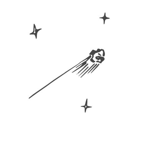 antiquities: Black and white sketch of the falling star