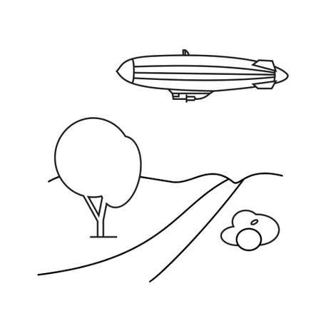 aerostat: Image of outline aerostat, trees, mountain . Air balloon, wood design with illustration. Icon website. Decoration airship. Adventure outdoor design collection. Isolated tree and mountain Illustration