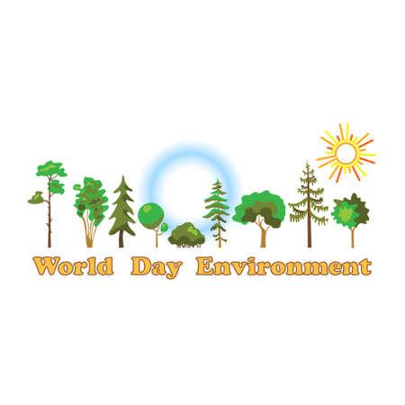 Wereld milieu dag, poster. Wereld milieu dag op witte achtergrond van platte stijl. Stock Illustratie