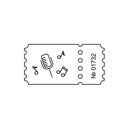 Ticket icon in de omtrek stijl. Ticket illustratie. Kaartjesstomp geïsoleerd op een achtergrond. Retro bioscoopkaartjes. Tickets concept pictogram. Movie ticket icon. Illustratie oude kaarten.