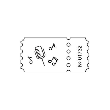 stub: Ticket icon in the outline style. Ticket illustration. Ticket stub isolated on a background. Retro cinema tickets. Tickets concept icon. Movie ticket icon. Illustration old tickets.