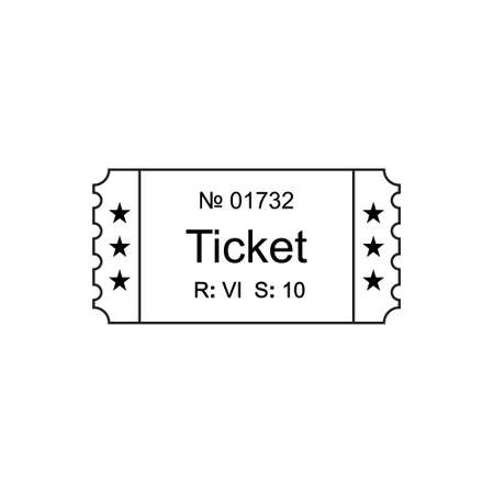 stub: Ticket icon in the outline style. Ticket vector illustration. Ticket stub isolated on a background. Retro cinema tickets. Tickets concept icon. Movie ticket icon. Illustration old tickets.